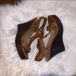 Mossimo Brown Wedge Platform Sandals Size 10